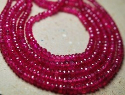 Raspberry Transparent Ruby Faceted Rondelle
