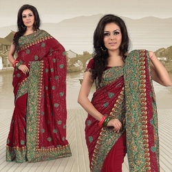 Dark Red Faux Georgette Saree With Blouse