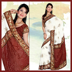 Ablicant White And Maroon Faux Georgette Saree (148)