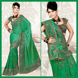 Turquoise Green Faux Georgette Saree With Blouse (45)