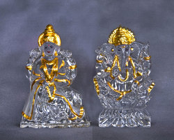 Laxmi Ganesh Set Gold Plated Crystal