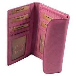 Pink Leather Women Wallet