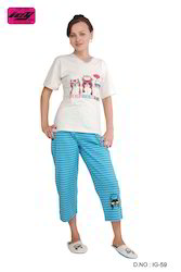 Ladies Printed Pajama Sets Nightwear