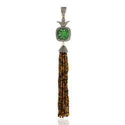 Tiger Eye Beads Diamond Tassel Pendant