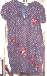 Dark Blue Cotton Kurti With Patchwork