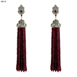 Beads Pave Diamond Tassel Earrings