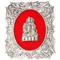 divine radha-krishna couple - white metal god frame