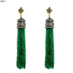 Emerald Pave Diamond Tassel Earrings