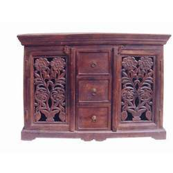 Side Board with Carved Door Cabinet