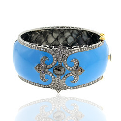 Pave Diamond Enamel Cuff Bracelet