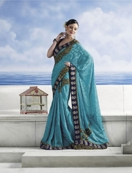 sareegalaxy - Sky Blue Brocade Saree with Blouse