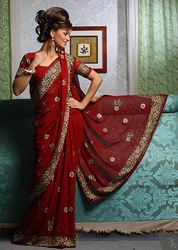 Women Embroidered Saree