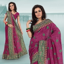 Dark Magenta Faux Georgette Saree With Blouse