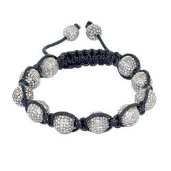 Pave Diamond Bead Macrame Bracelets