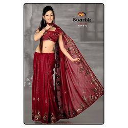 Marroon Shaded Saree