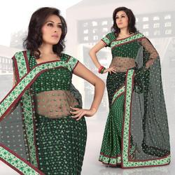 Green Viscose Saree With Blouse