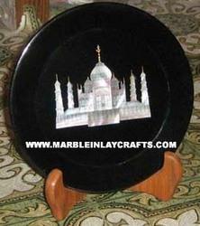 Black Marble Taj Mahal Plate