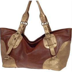 Brown and Golden Leather Ladies Handbag