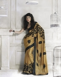 Sareegalaxy - Golden Art Silk Saree With Blouse