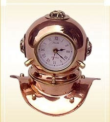 Nautical Brass Copper Divers Helmet With Clock