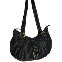 Trendy Black Leather Handbag