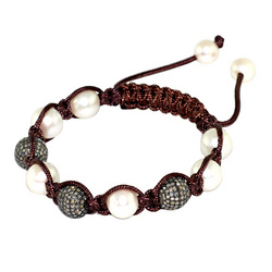 Diamond Bead White Pearl Macrame Jewelry