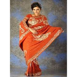 Orange Saree With Beautiful Work