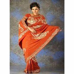 Orange Saree With Beautiful Work