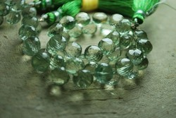Green Amethyst Faceted Onion Briolettes