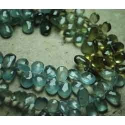 Natural Multi Moss Aquamarine Faceted Pear Briolettes