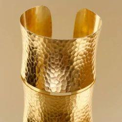 Hammered Concave Brass Cuff Bracelet