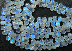 Blue Fire Transparent Moonstone Smooth Pear Briolettes
