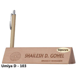 wooden name plate with pen stand