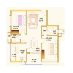 2BHK Sample Flat Layout Plan(1110SQ FT)