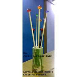 Acrylic Beaded Bamboo Knitting Needles