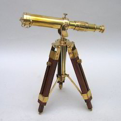 Brass Table Top Telescope With Wooden Stand