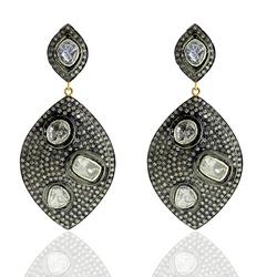 Uncut Diamond 14k Gold Earrings Jewelry