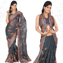 Grayish Blue Faux Georgette Saree With Blouse