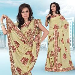 Buttery Cream Faux Georgette Saree With Blouse