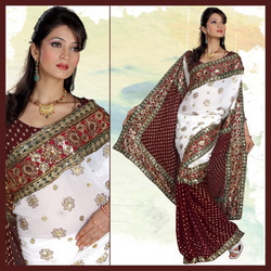 Maroon Viscose Saree With Blouse(159)