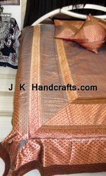 King Size Silk Embroidered Bedspread
