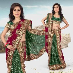 Green Viscose Lehenga Style Saree With Blouse