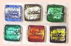 Rectangular Silver Foil Beads