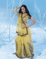 Sareegalaxy - Musturd Yellow Net Saree With Blouse