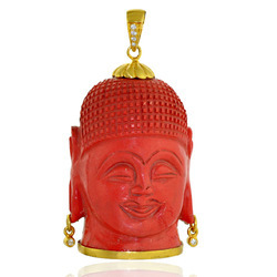 Buddha Pendant Crafted On Red Coral