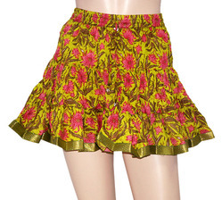 Cotton Block Print Mini Short Skirts