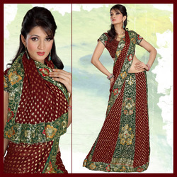 Maroon Viscose Lehenga Style Saree With Blouse (157)