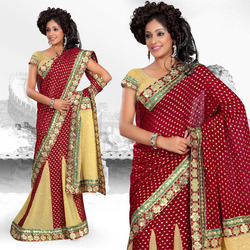 Maroon Viscose Lehenga Style Saree With Blouse (228)
