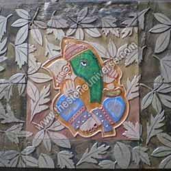 Ganesha Leaf Slate Mural