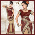 Fawn Faux Georgette Lehenga Style Saree With Blouse (5)